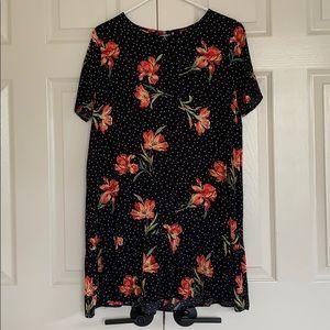 Forever 21 black polka dot & floral dress size med